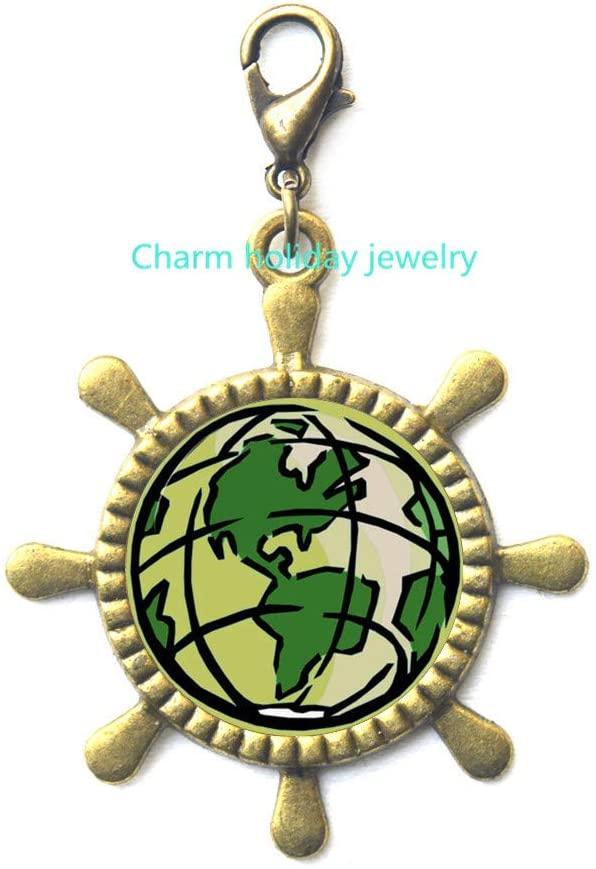World Map Rudder Zipper Pull/Travel Rudder Zipper Pull/Globe Rudder Zipper Pull/Traveller Gift/Graduation Gift/Gifts for Women/Daily Inspiration/Dainty Rudder Zipper Pull-#72