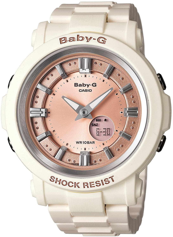 Casio Women's BGA300-7A2 Baby G White and Rose Gold Watch