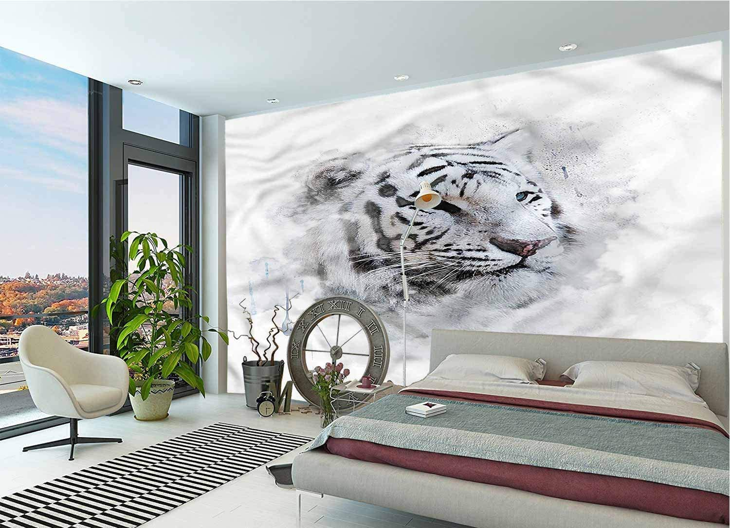 LCGGDB Animal Large Wall Mural,White Tiger Portrait Removable Large Sticker Foil Wall Decor for Office Kids Bedroom Nursery Family Decor-144x100 Inch