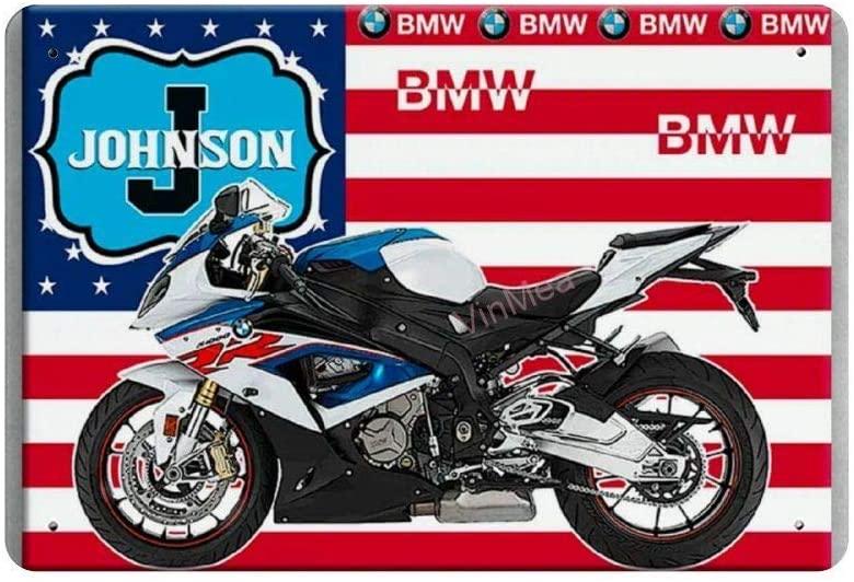 SIGNSHM BMW Motorbike J Johnson Retro Metal Tin Sign Plaque Poster Wall Decor Art Shabby Chic Gift Suitable 12x8 Inch