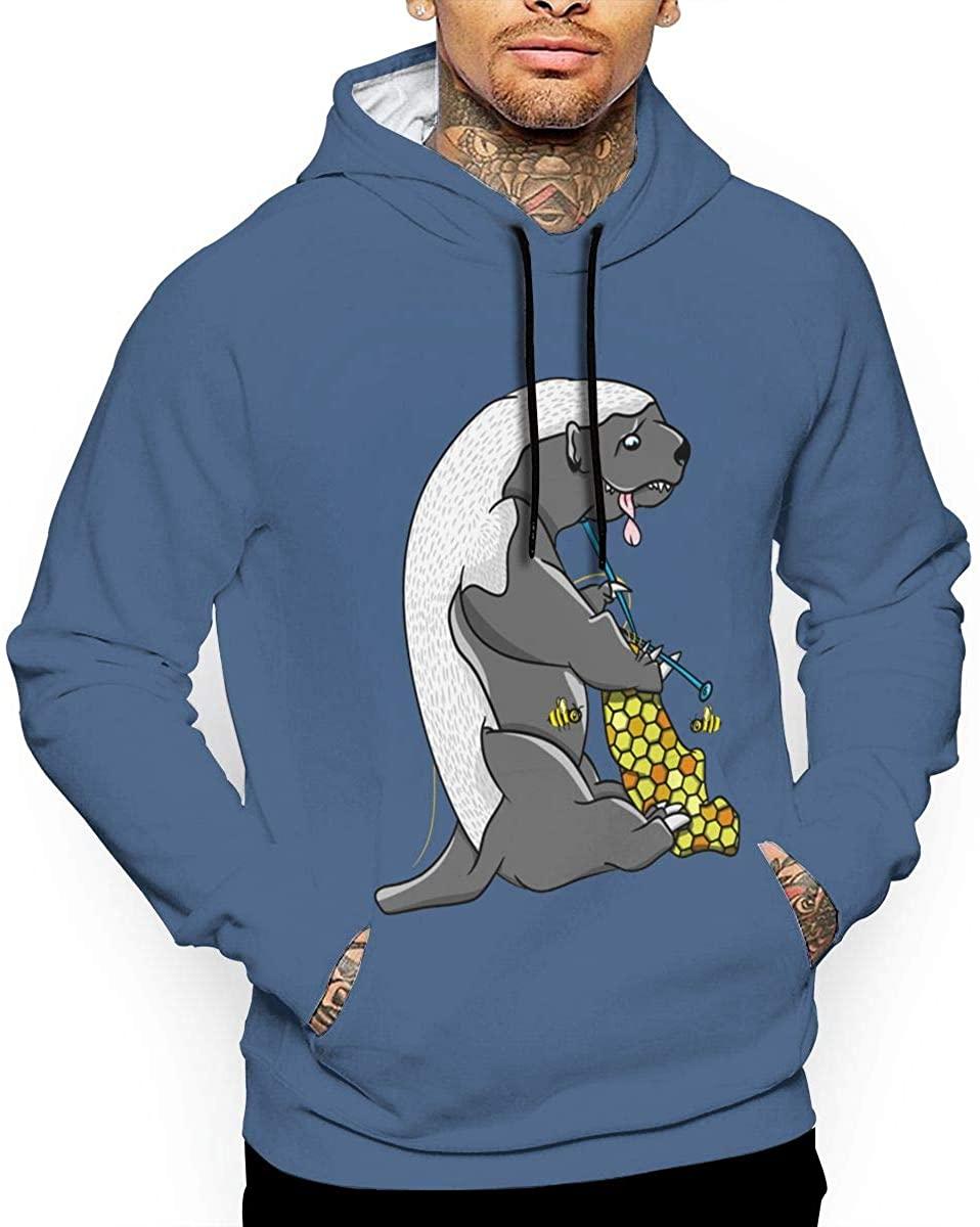 Cartoon Honey Badger Mens Long Sleeve Pullover Hoodie Sweatshirt