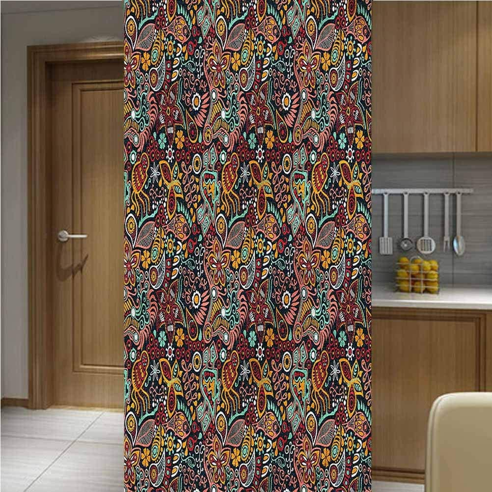 LCGGDB Floral ONE Piece 3D Printed Window Film Privacy Glass Film,Spring Blossoms Design Non-Adhesive Window Stickers Paint Frosted Static Cling Glass Decal,35.6