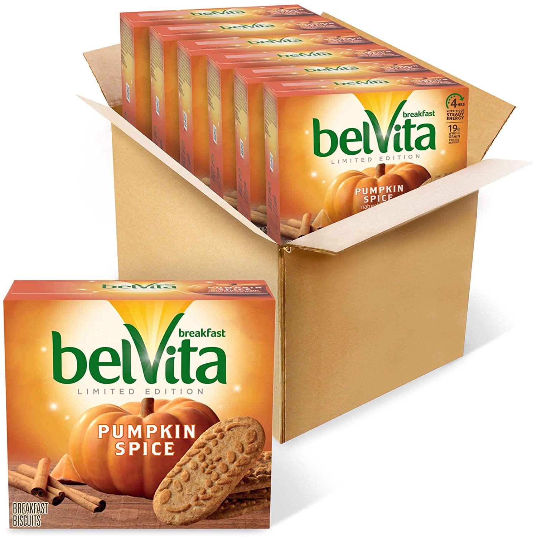 belVita Pumpkin Spice Breakfast Biscuits, 6 Boxes of 5 Packs (4 Biscuits Per Pack)