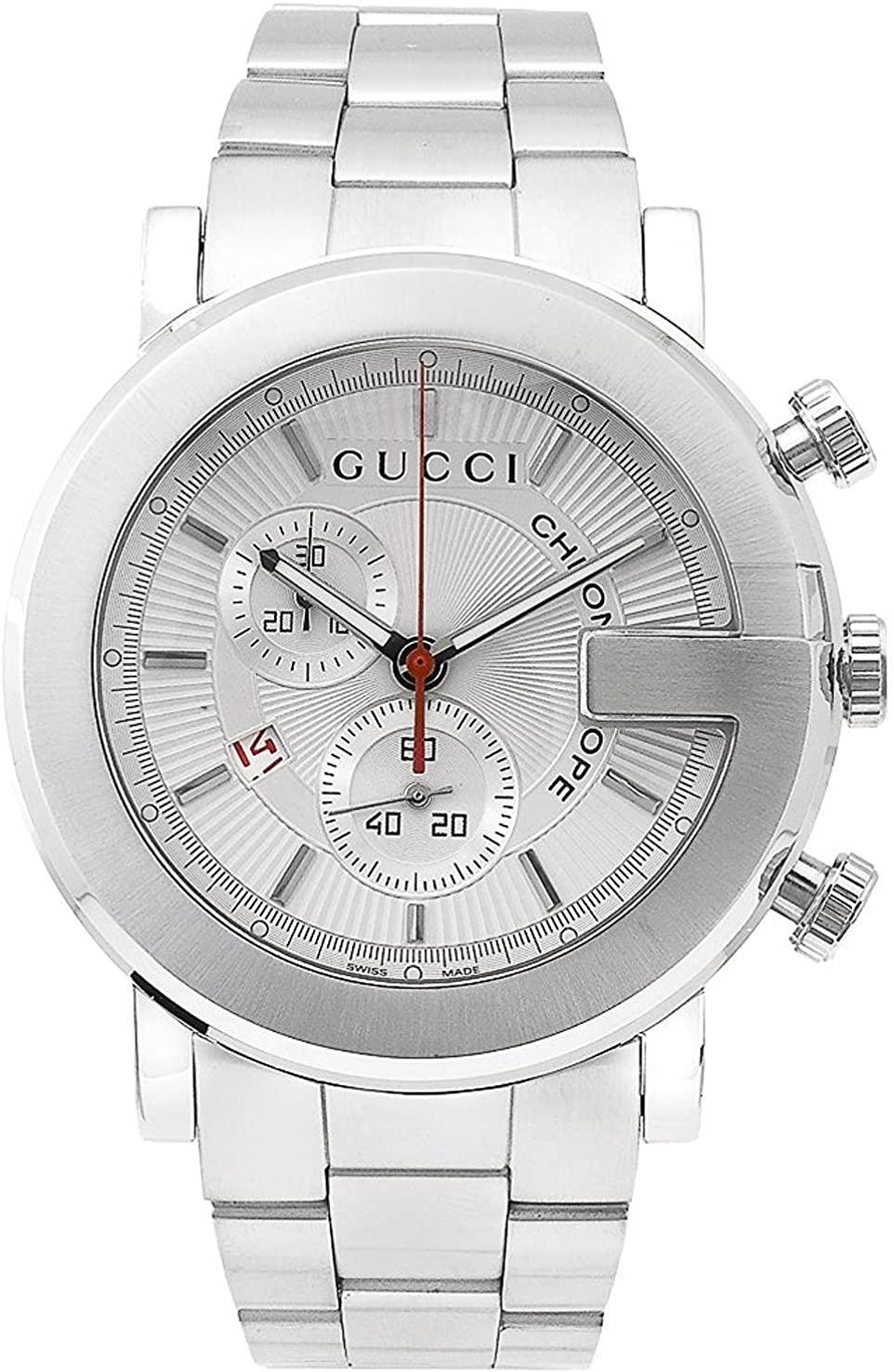 Gucci Men's 101 Series 43mm Steel Bracelet & Case Sapphire Crystal Quartz Silver-Tone Dial Watch YA101339