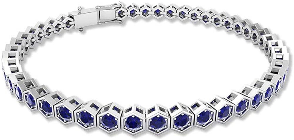 Unique 4.70 CT Certified Blue Sapphire Hexagon Vintage Bracelet, 14k Gold Blue Stone Wedding Tennis Bracelets, September Birthstone Stacking Bracelets