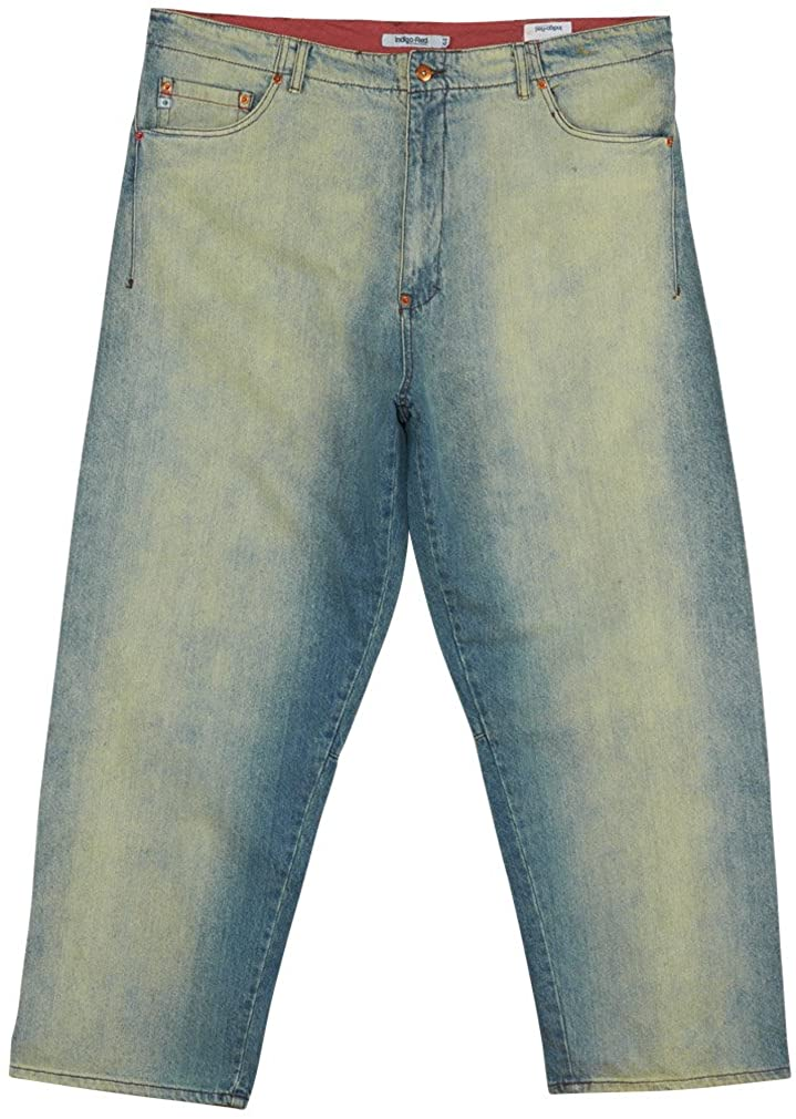 Indigo-Red Relaxed Industrial Denim Jeans Mens
