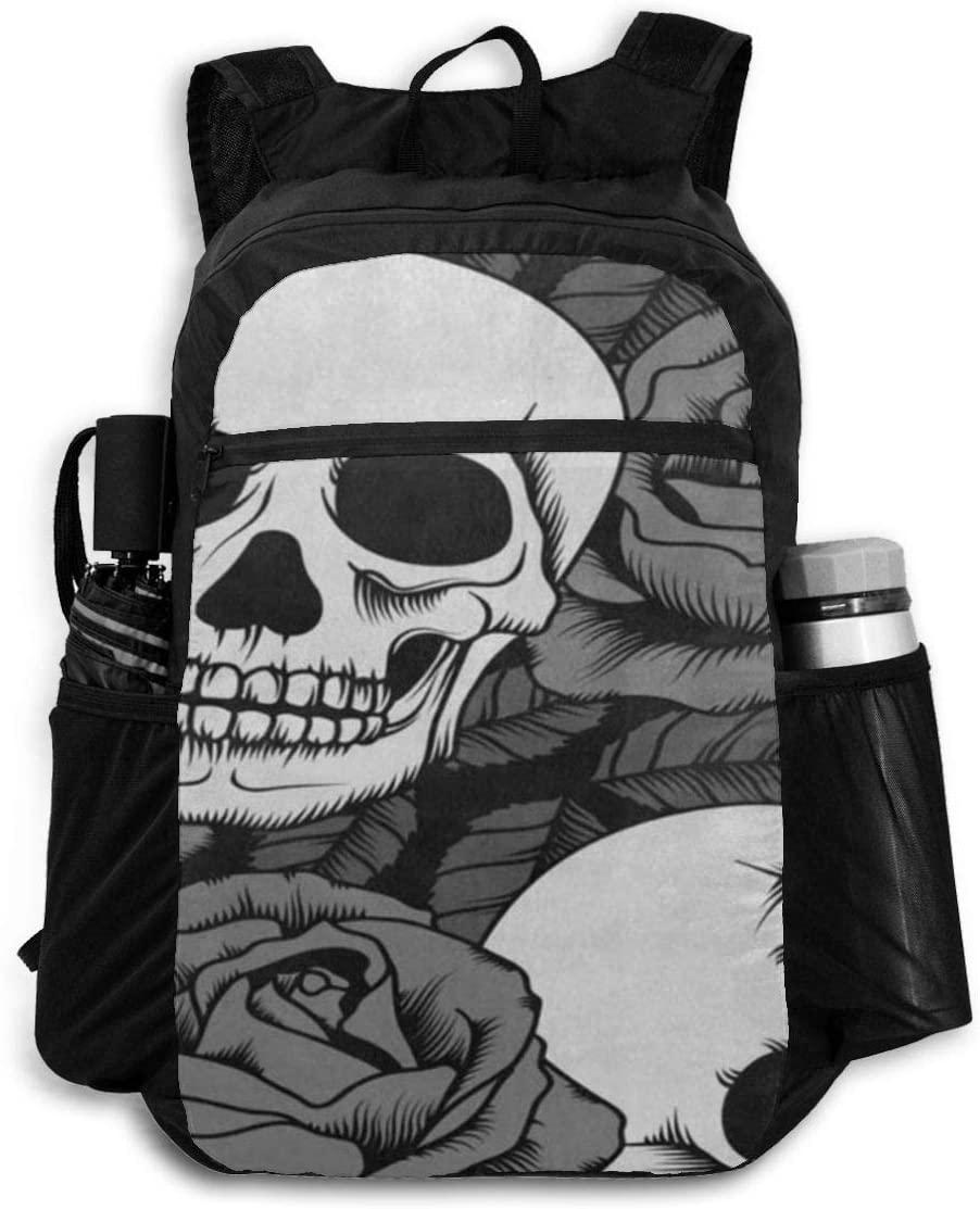 Fashion Backpack Vintage Sugar Skull Flower Slim Shoulder Backpacks Bag Bookbag Daypack