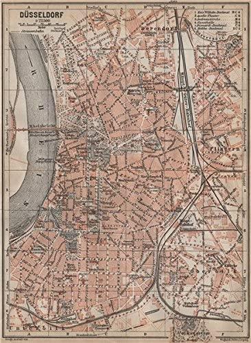 DÜSSELDORF town city stadtplan. Northrhine-Westfalia. Dusseldorf karte - 1913 - old map - antique map - vintage map - Northrhine-Westfalia map s
