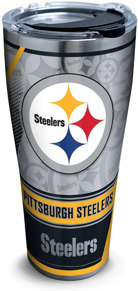 Tervis NFL Pittsburgh Steelers Edge Stainless Steel Tumbler with Clear and Black Hammer Lid 30oz, Silver
