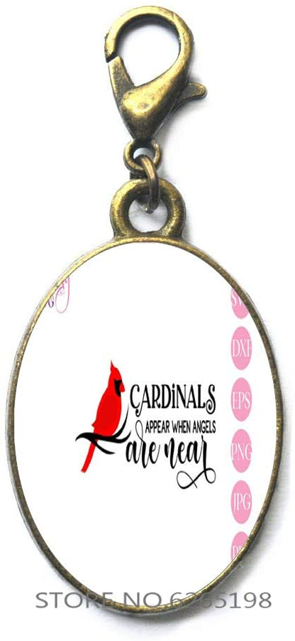 Cardinals Appear When Angels are Near Charm Zipper Pull - Memorial Gift-Cardinal Jewelry - Loss of Loved One,Handmade Glass Photo Art Zipper Pull,N178