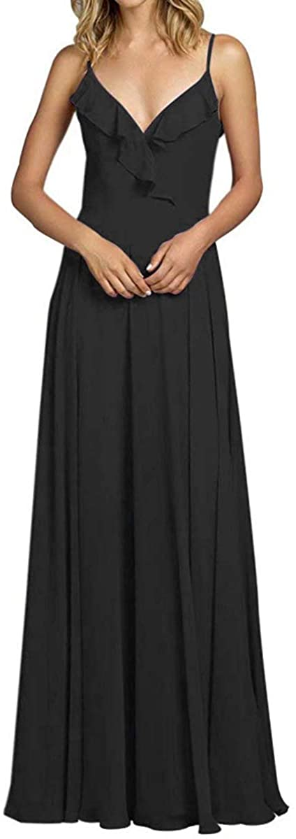 Women's V Neck Bridesmaid Dress Long A Line Ruffled Bodice Formal Evening Gown