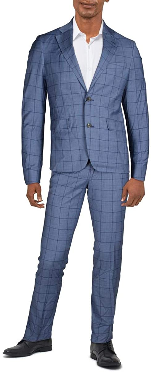 Strong Suit Mens Wool Window Pane Two-Button Suit Blue 40R