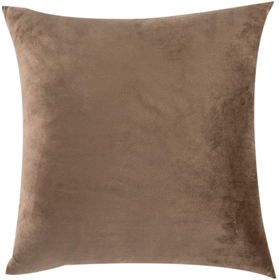 SUYUN WELL Velvet Throw Pillow Covers Set of 2 Square Decorative Cushion Covers,Soft Pillowcases for Couch,Bed,Car,Dark Khaki 18×18 inch 45×45cm
