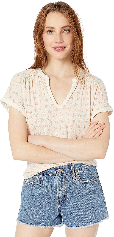 Lucky Brand Women's Printed Sleeveless Notch Neck Shirt