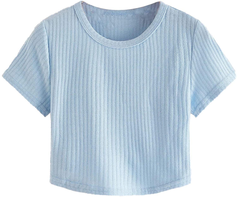 SheIn Women's Round Neck Short Sleeve Slim Fit Rib Knit T Shirts Crop Top