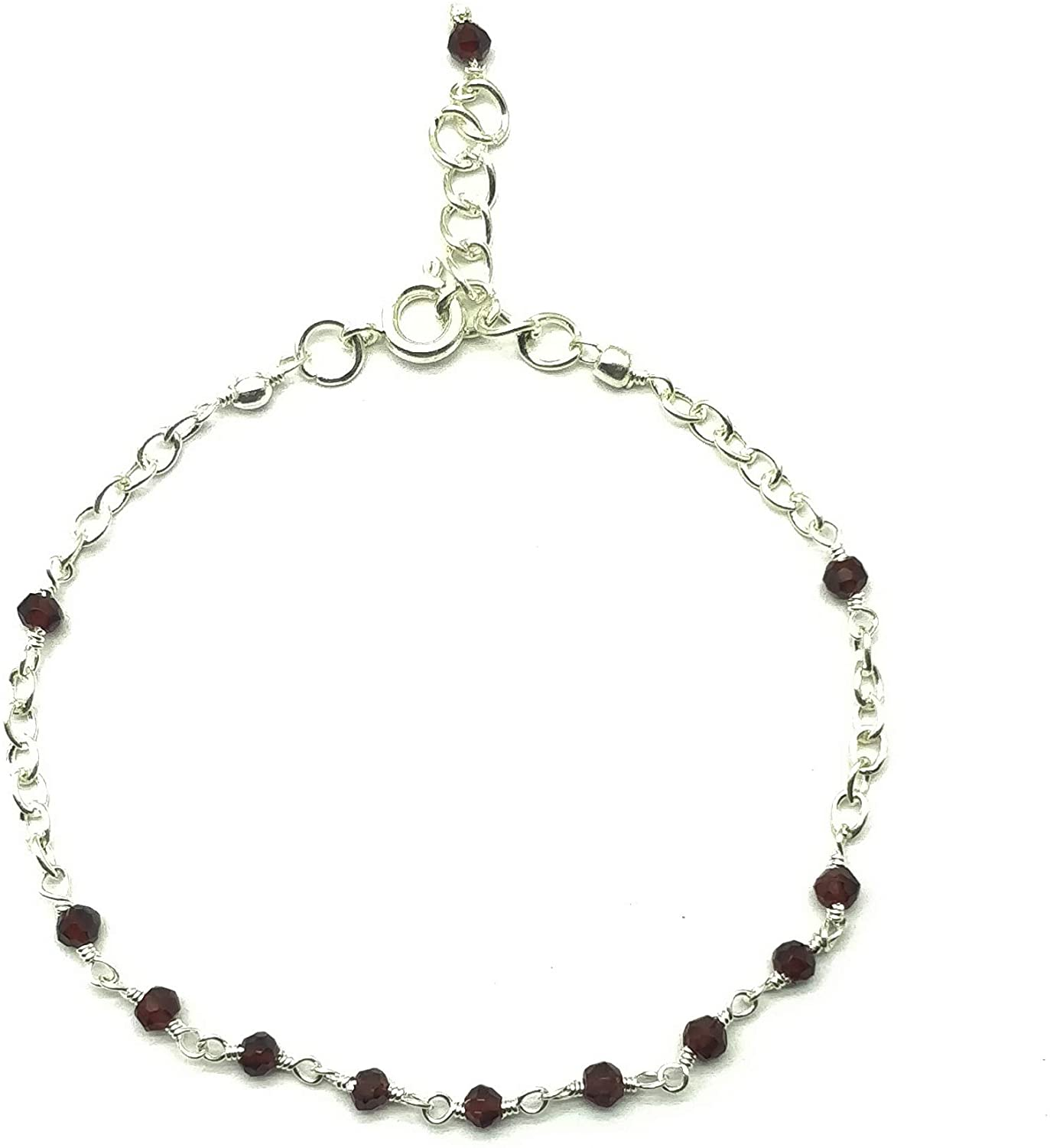 Natural Red Garnet Silver plated, 3mm Rondelle Faceted 7 inch Adjustable bracelet beaded bar bracelet jewelry for GF & Wife, Mother gift