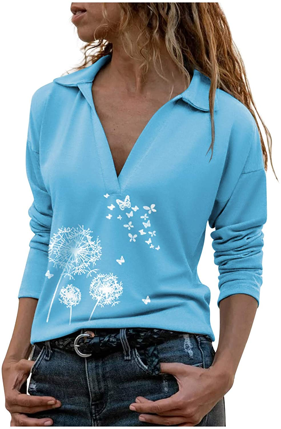 Women Pullover Sweatshirt Long Sleeve V Neck Blouses Casual Shirts Office Lapel Tops
