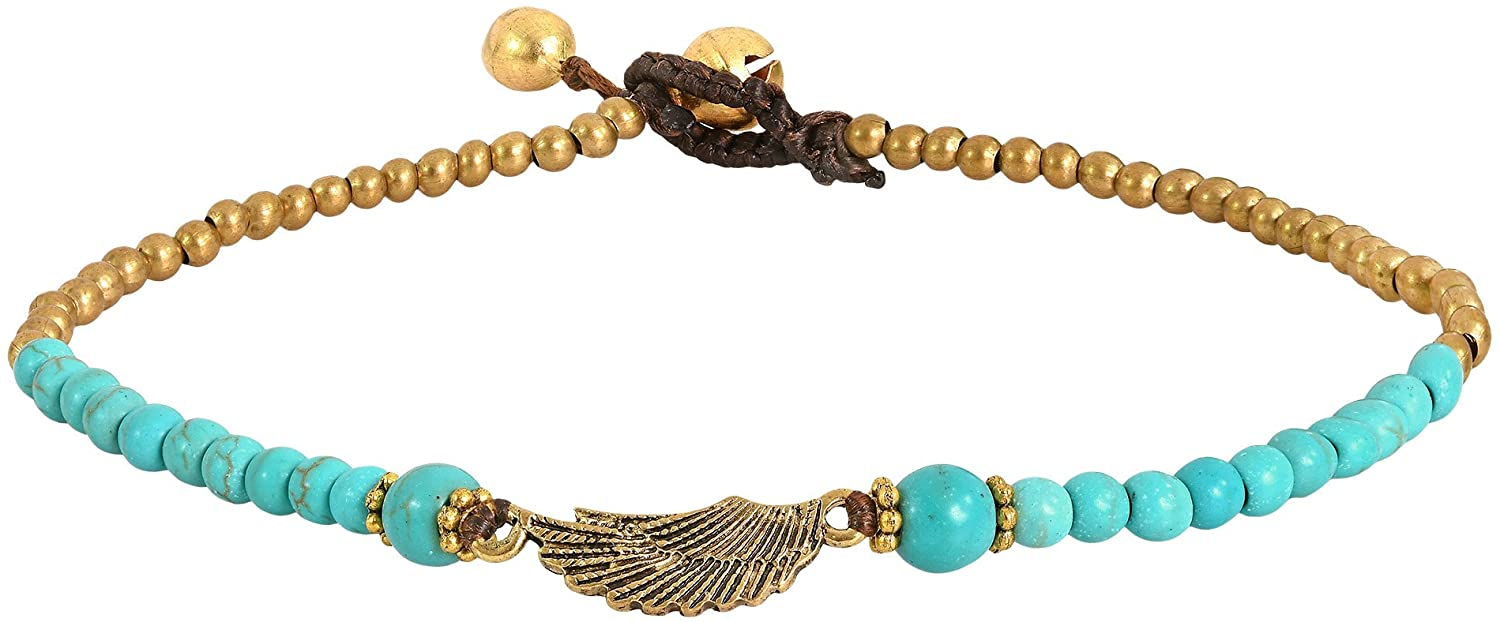 AeraVida Charming Brass Wing with Simulated Turquoise & Fashion Brass Beads Handmade Link Anklet