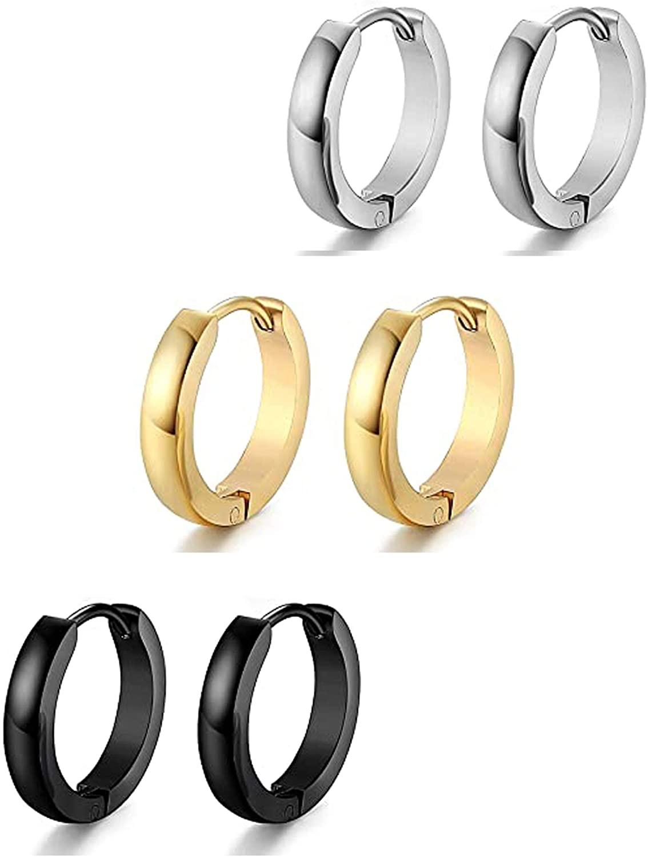MOROTOLE 6 Pairs Stainless Steel Small Hoop Earrings Set For Women Men Huggie Earrings, Hypoallergenic Earlobe Cartilage Ear Piercings, Diameter: 9Mm-15Mm