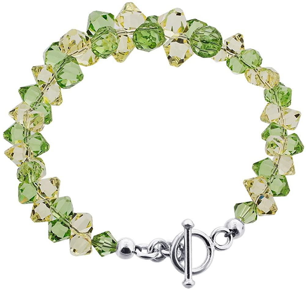 Gem Avenue Cluster Style Swarovski Elements Crystal Toggle Clasp Sterling Silver 7.5 inch Bracelets