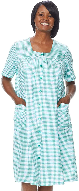 AmeriMark Women's Check Button-Front House Dress - Short Sleeve Patio Dress