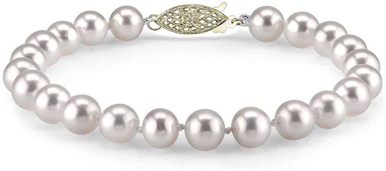 THE PEARL SOURCE 14K Gold 10-11mm AAAA Quality Round White Freshwater Cultured Pearl Bracelet for Women