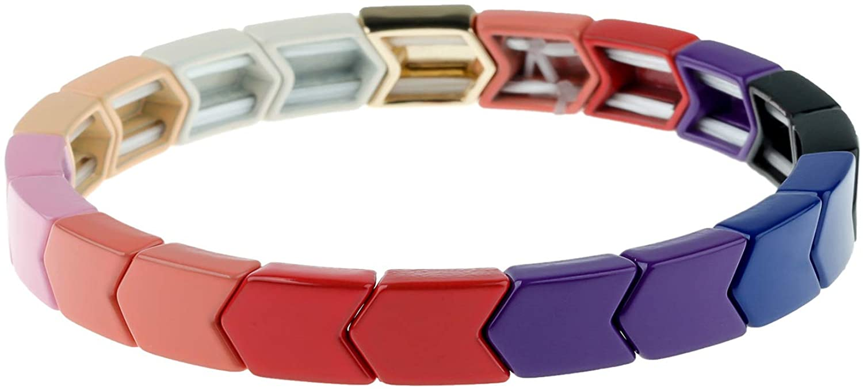 PLTGOOD Rainbow Enamel Tile Bracelet Colorful Beaded Stretch Bracelet Geometric Stackable Color Block Strand Bracelet for Women Men Girls