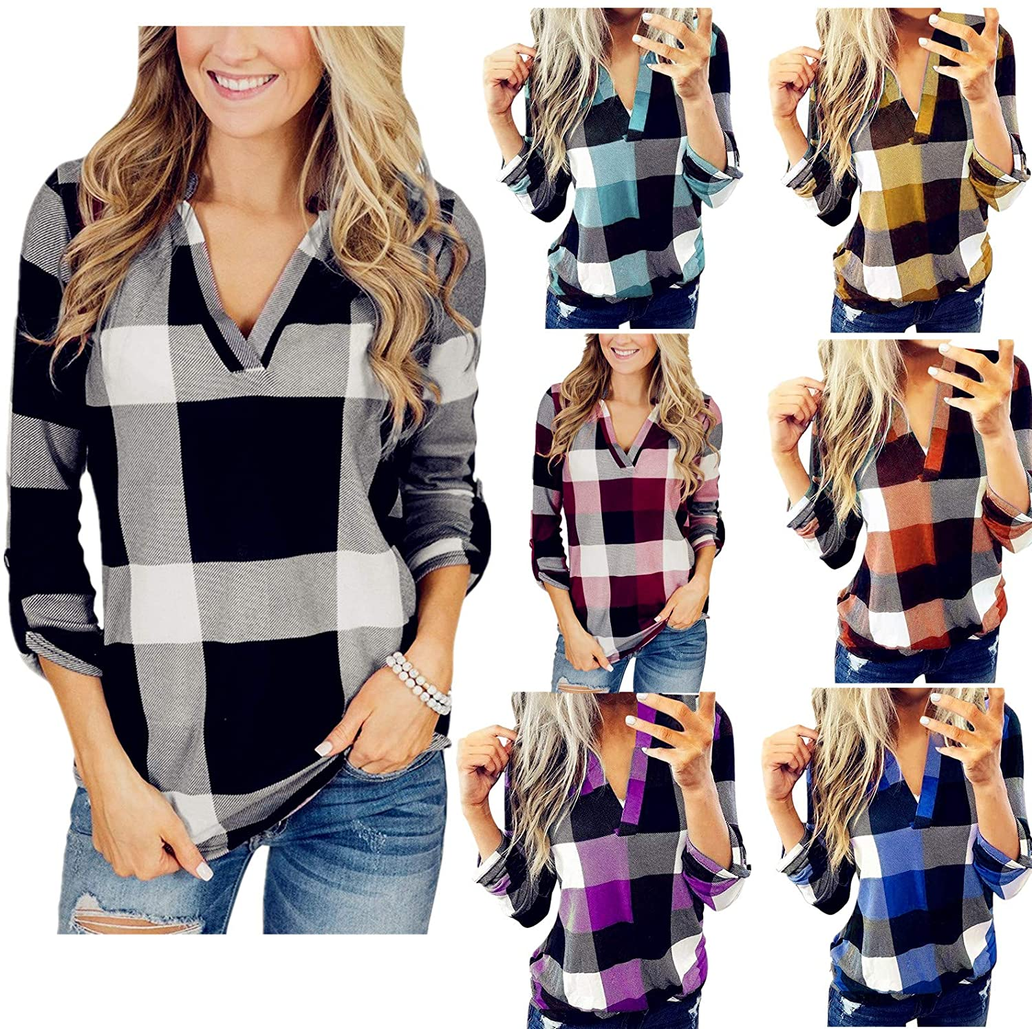 Women Roll Up Long Sleeve Plaid Shirt Casual V-neck Loose Boyfriend Tunic T-hirts Plus Size Pullover Tops