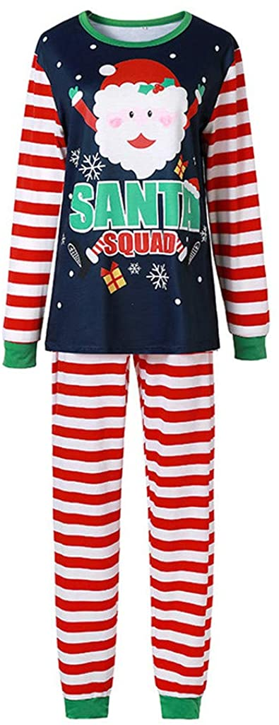 Mkcether Matching Family Pajamas Sets Christmas Pjs Santa ELF Printed Long Sleeve Tops + Pants Xmas Holiday Loungewear