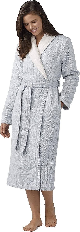 Coyuchi Womens Catalina Organic Robe - Medium - Lake