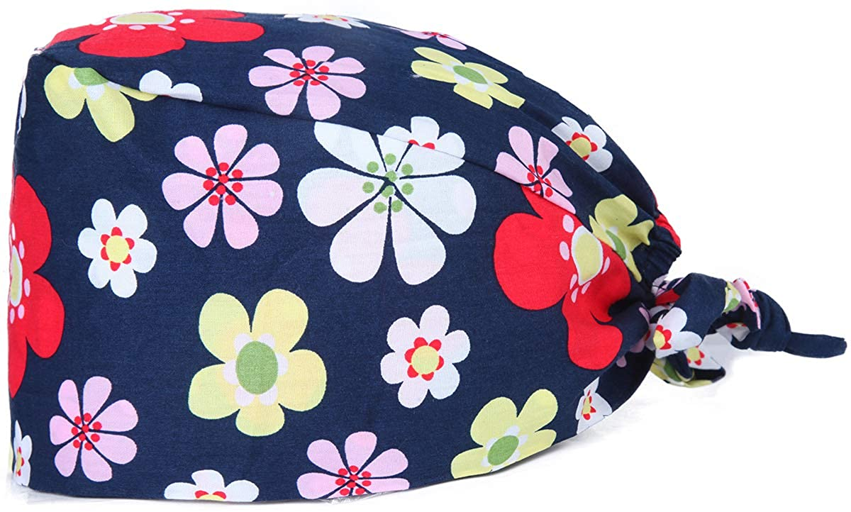 Kousenpu Adjustable Working Cap with Sweatband, Bouffant Tie Back Hat, Suitable for Men and Women, One Size Multi Color
