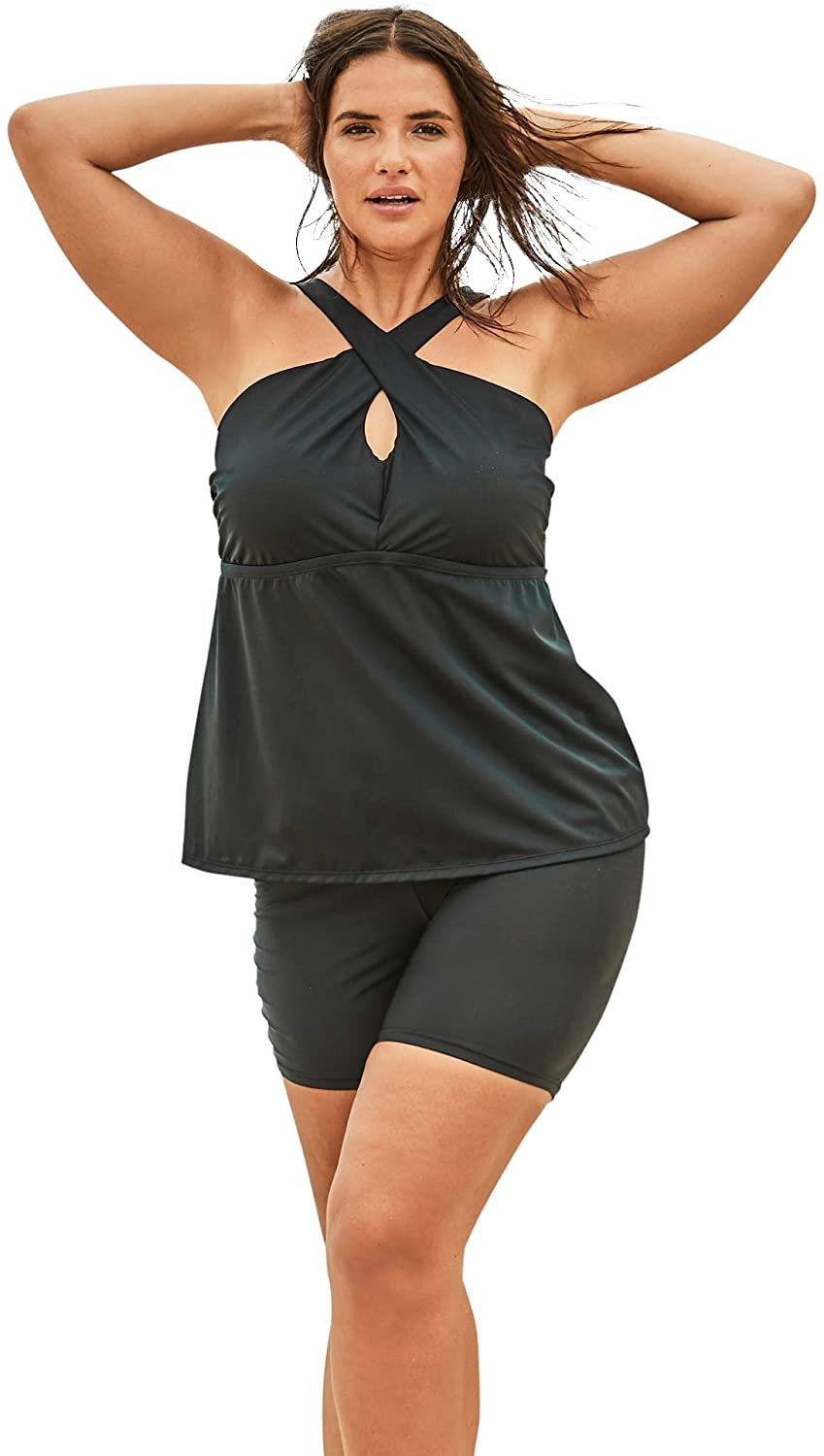 Swimsuits For All Womens Plus Size Crossover Tankini Top