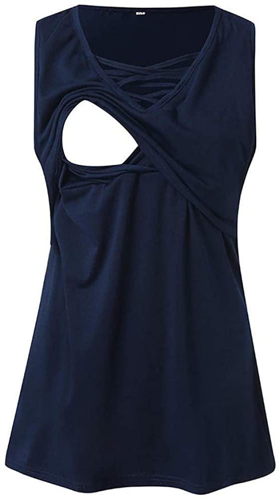 Women's Maternity Sleeveless Nursing Top Breastfeeding Tank Top Double Layer Pregnancy Shirt