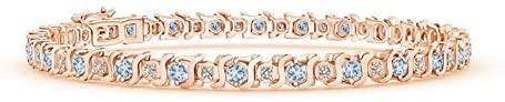 President's Day Sale - S Curl Aquamarine and Diamond Tennis Bracelet (2.5mm Aquamarine)