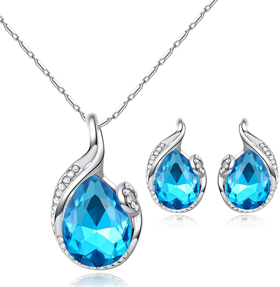 Zhang Trading Co., Ltd. White Gold-Plated Big Crystal Drop of Water Earrings+Necklace Set