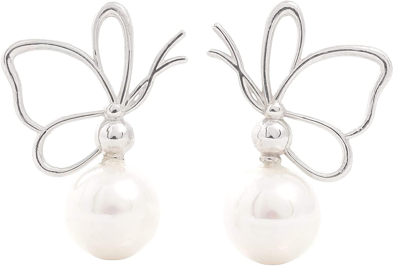Myston Butterfly 18K White Gold Plated Brass Hypoallergenic Drop Dangle Earrings for Women