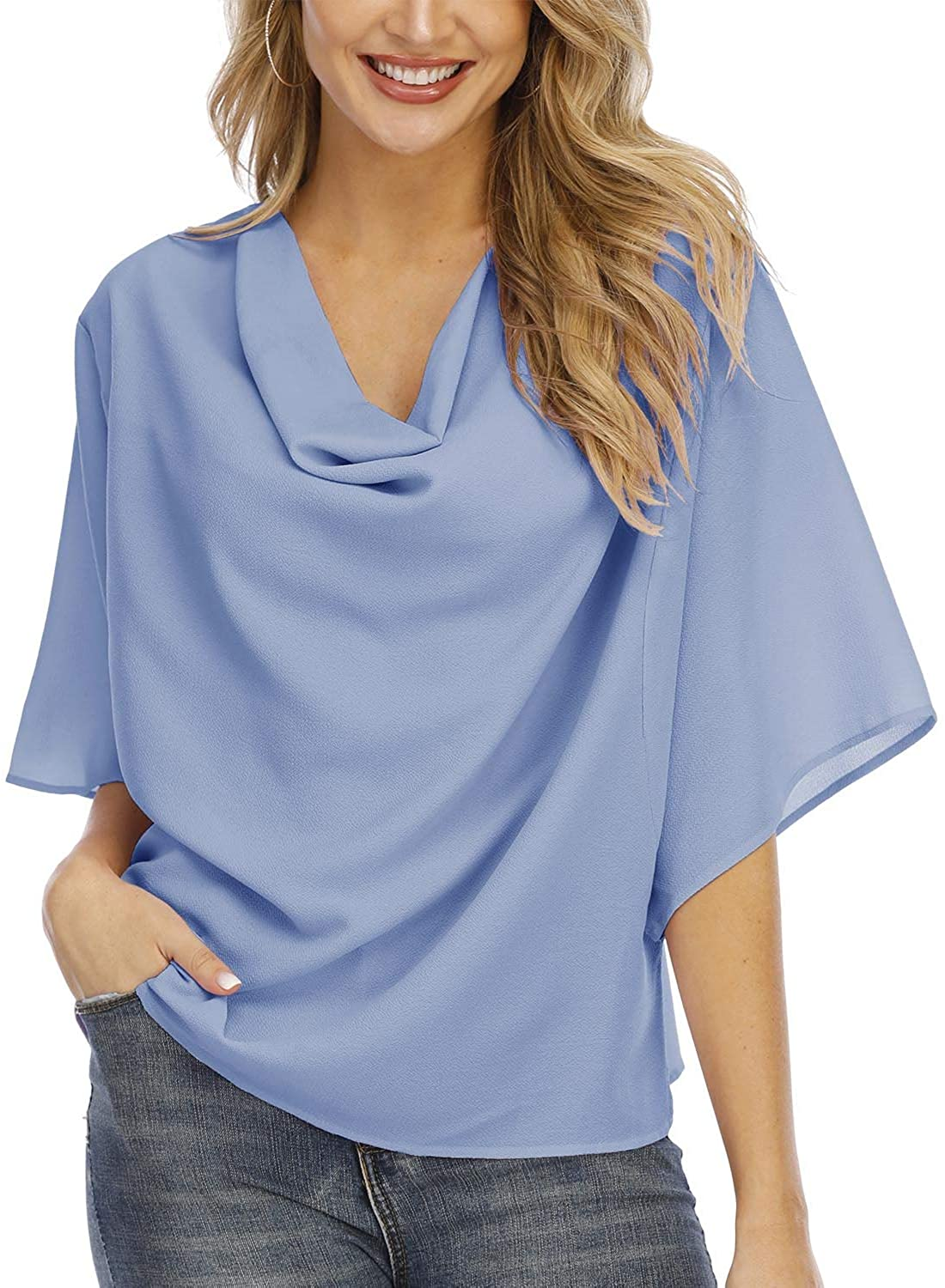 LVNES Womens Tops and Blouses for Work Summer V Neck Front Draped 3/4 Sleeve Causal Shirt Crop Top