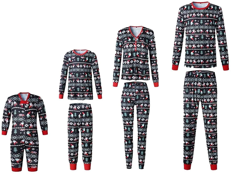 Family Matching Christmas Pajamas Set for Women Men Kid Baby,Winter Outfit Print Holiday PJS Sleepwear Homewear Set