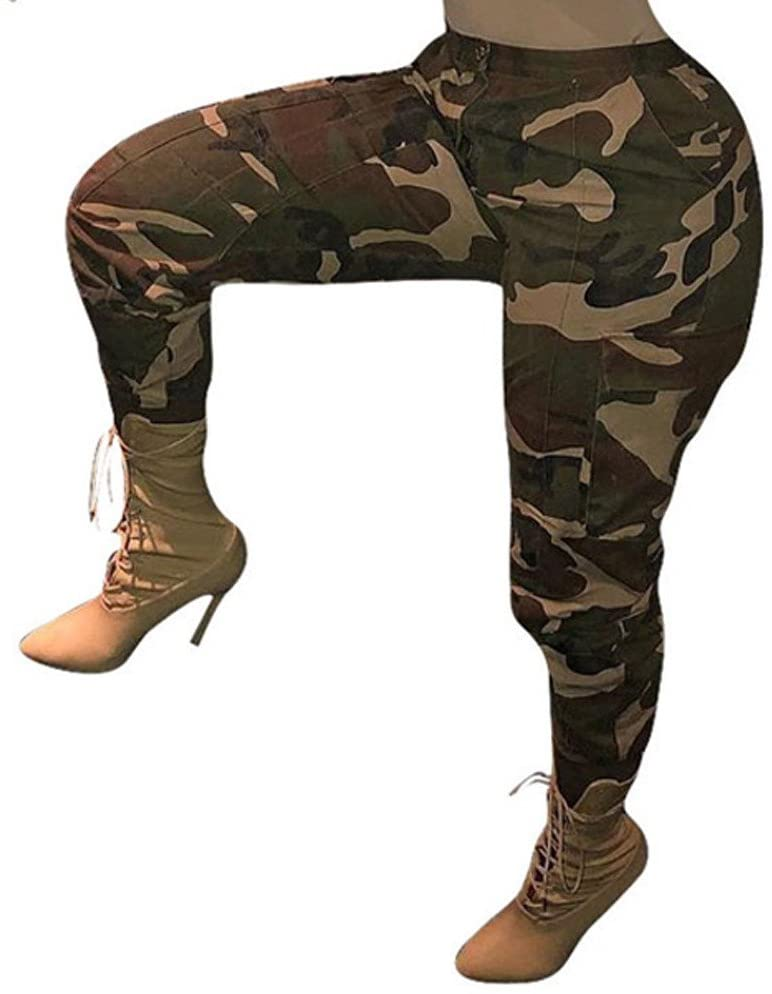 Shirt Luv Womens Camouflage Pants Camo Casual Cargo Joggers Trousers Hip Hop Rock Trousers Yellow 4XL Trousers for Women