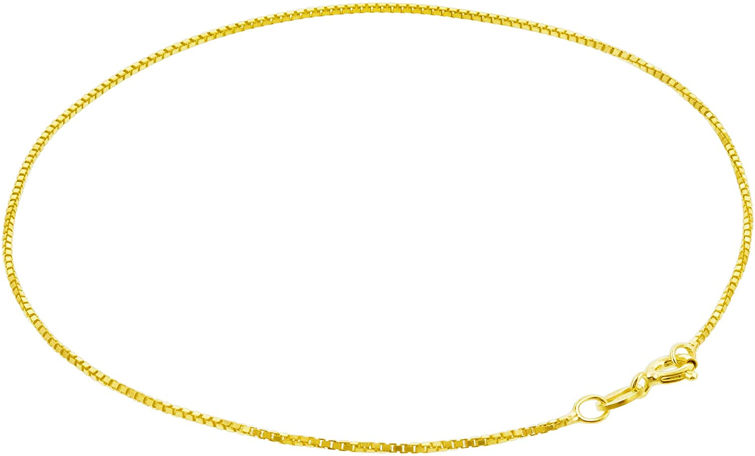 14k Gold over Sterling Silver Vermeil 1mm Box Foot Chain Anklet
