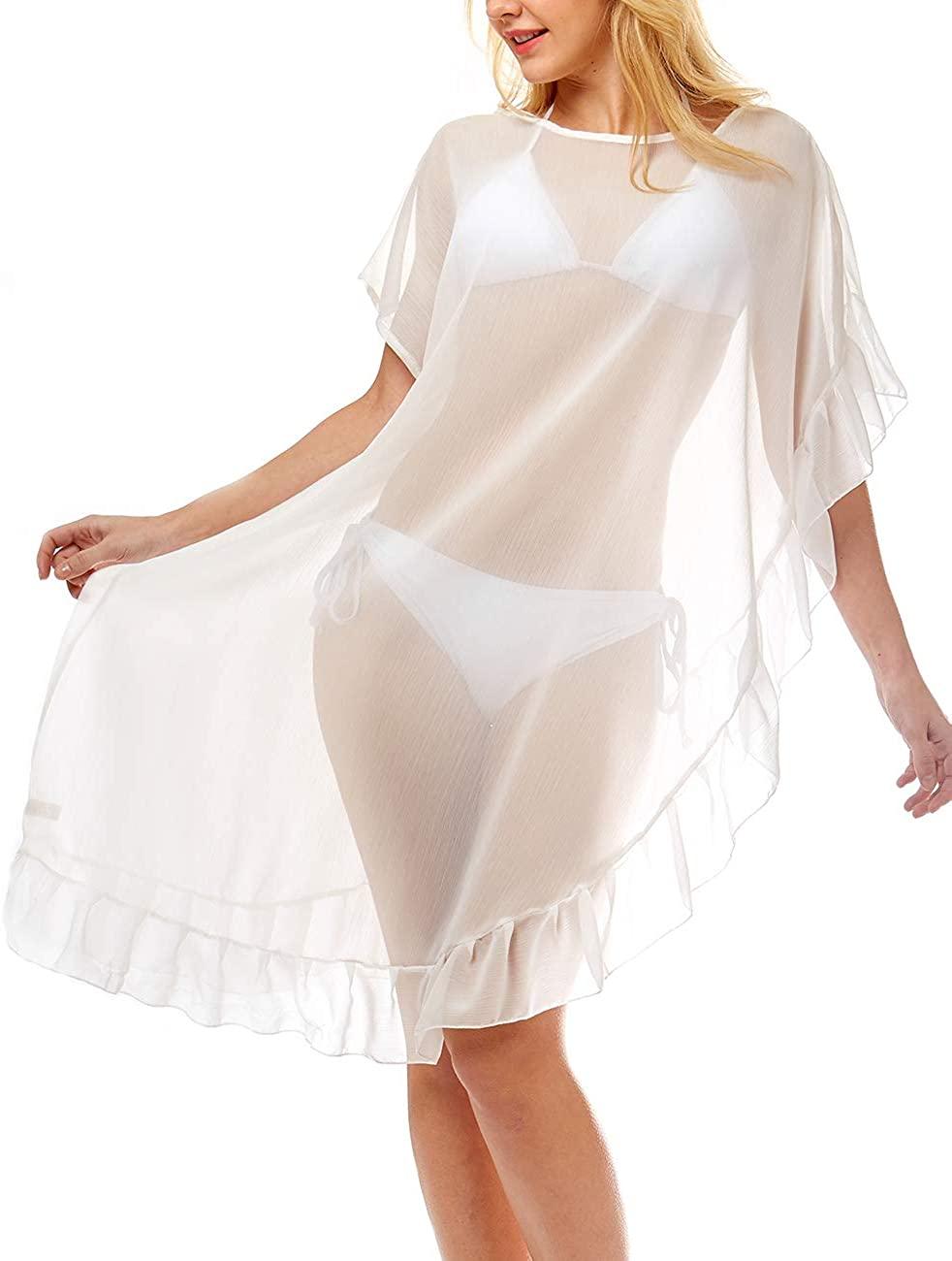 MIRMARU Women's Summer Half Ruffled Chiffon Bikini Beach Cover Up - Sheer Lace Bathing Suit Beachwear Long Dress.