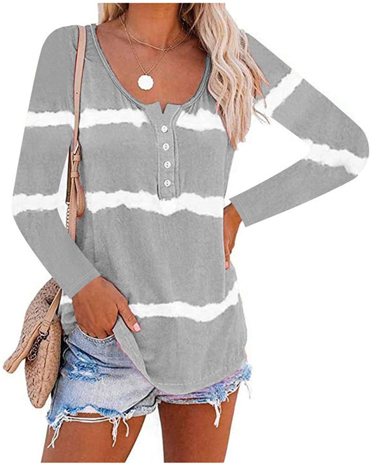 N/P Women's Tie Dye Printed Long Sleeve Shirts Stripes Loose Tunic Tops Button Blouse Shirt