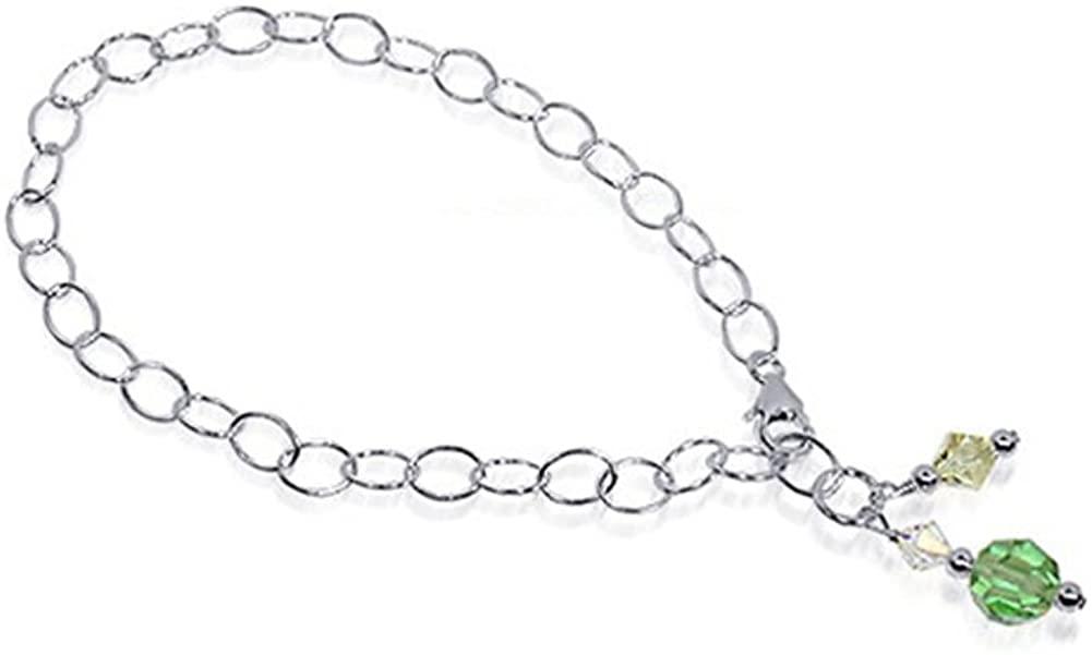 Gem Avenue Round Green Swarovski Elements Crystal 9-10 inch Sterling Silver Oval Foot Chain Anklet Ankle Bracelets