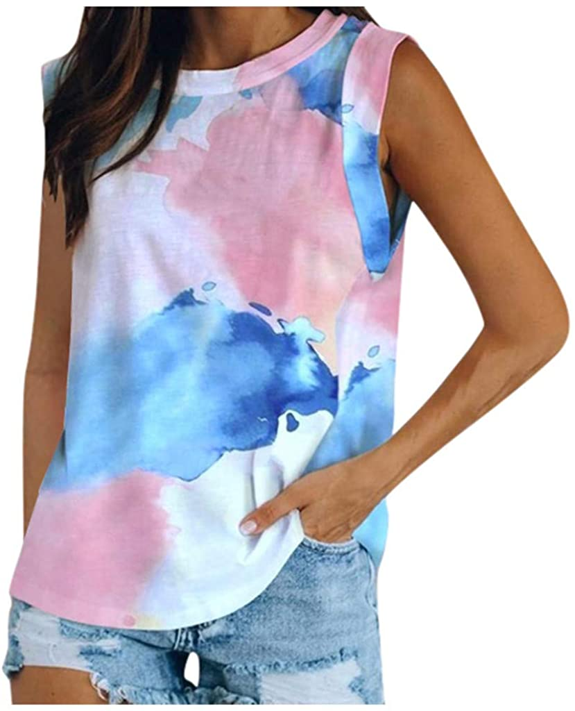 Womens Tank Tops Casual Summer,Women Plus-Size Tops Summer Shirts Knot - Tie Dye Shirt Sleeveless Tunic Tops Casual Summer Top Loose Fit