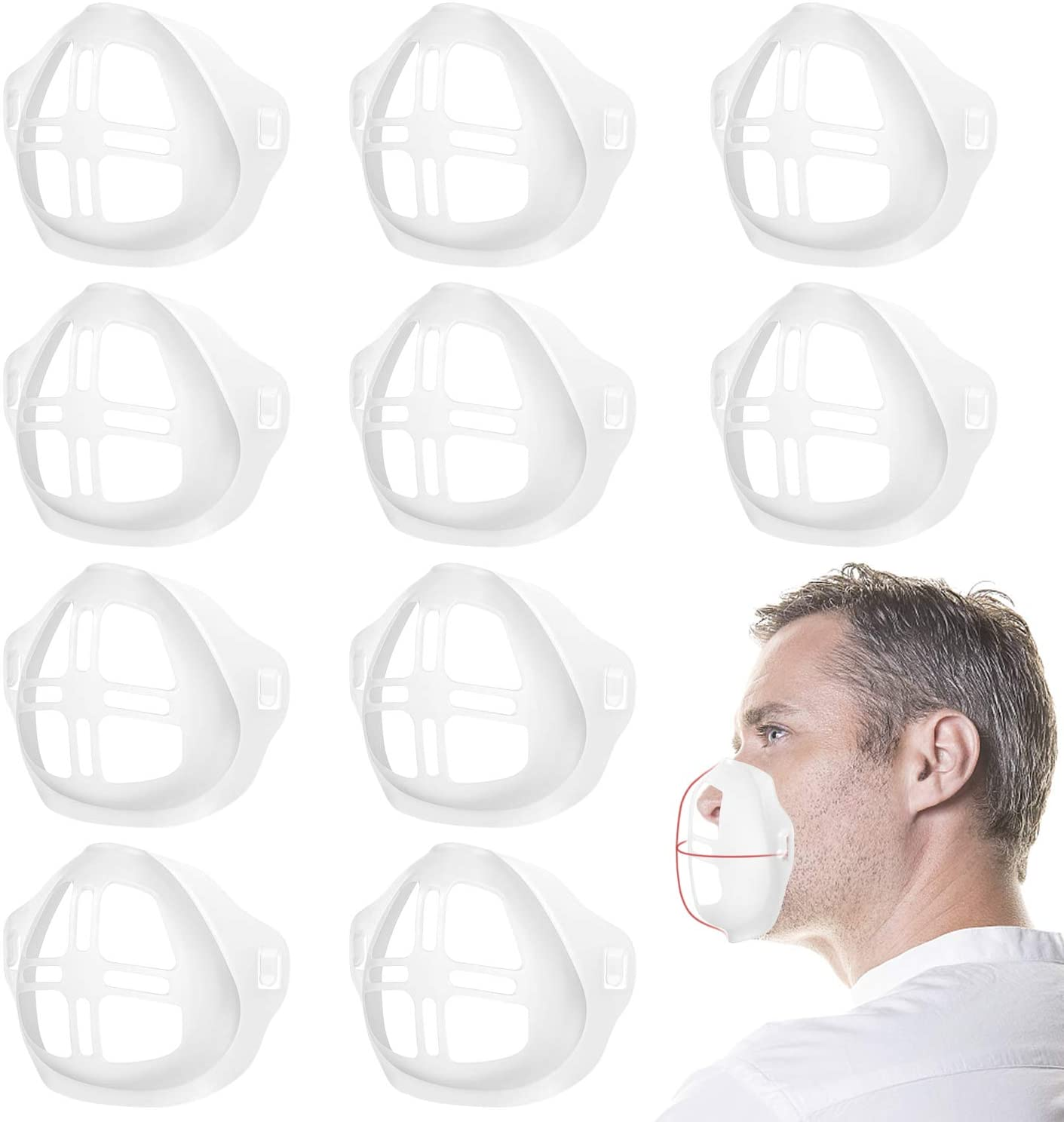 MACHINELINK 10pcs 3D Inner Bracket for Mask, Inner Support Frame Softy Nose Mouth Pad Protection, Extend Breathing Space, Breath Comfortable, Washable and Reusable