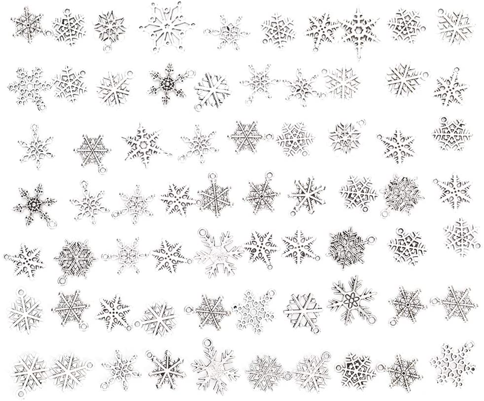 70pcs Christmas Snowflake Charm Antique Silver Pendant Charms for DIY Necklace Bracelet Jewelry Making Silver Charms