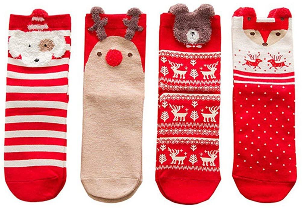 Christmas Socks, 4 Pairs Womens Cute Cartoon Christmas Socks Cotton Cozy Winter Warm Socks Christmas Holiday Gift Socks