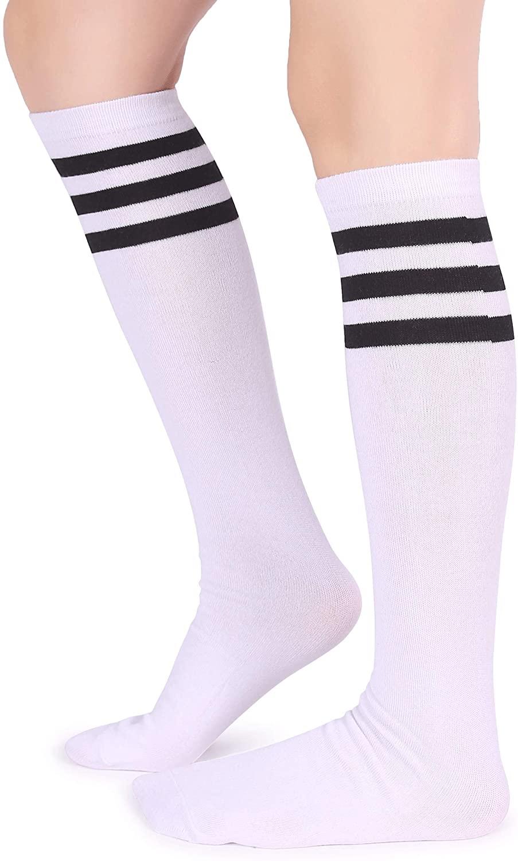 Pareberry Unisex Triple Stripes Soft Cotton Knee High Tube Socks