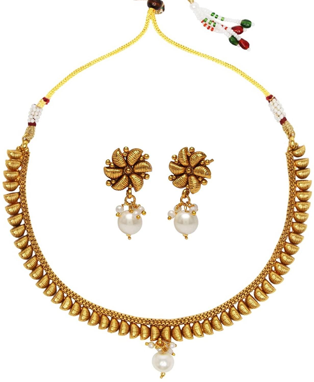 ADIVA Bridal Wedding with Earrings Copper Necklace Set Kundan Jewelry for Women
