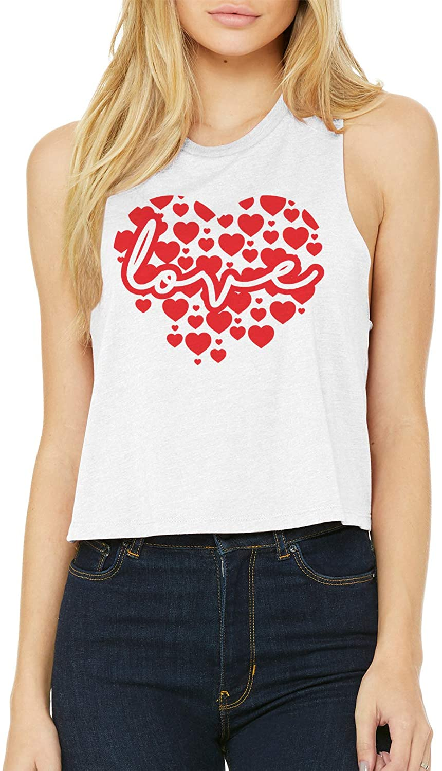 Threadrock Women's Script Love Inside Big Red Heart Crop Top Racerback Tank
